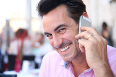 Married man talking on phone Royalty Free Stock Photos