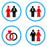 Married Persons Rounded Vector Icons. Married Persons rounded icons. Vector illustration style is a flat iconic symbols inside blue circles. Designed for web and Stock Photos