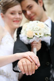 Married shows the rings. Fiance with the bride, shows the rings Royalty Free Stock Photo