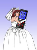 Married to the mobile phone (brunette fem.) Stock Photography