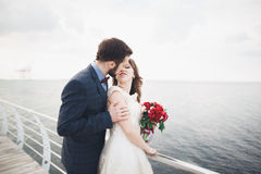 Married wedding couple standing on a wharf over the sea.  Royalty Free Stock Photography
