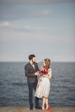 Married wedding couple standing on a wharf over the sea.  Stock Images