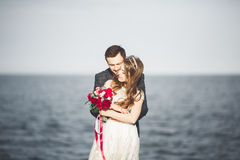Married wedding couple standing on a wharf over the sea.  Stock Image