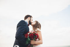 Married wedding couple standing on a wharf over the sea.  Stock Photos