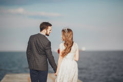 Married wedding couple standing on a wharf over the sea Stock Image