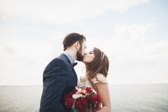 Married wedding couple standing on a wharf over the sea.  Royalty Free Stock Photo
