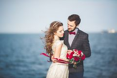 Married wedding couple standing on a wharf over the sea.  Royalty Free Stock Images