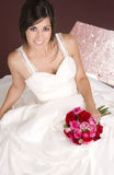 Married Woman Bridal Gown Floral Bouquet Smiling Stock Photography