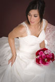 Married Woman Sitting Dress Flower Bouquet Royalty Free Stock Photo