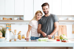 Married young couple enjoying their time at home Royalty Free Stock Photos