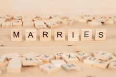 Marries word written on wood Royalty Free Stock Photos