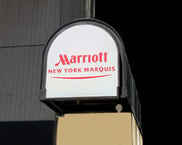 Marriott ny marquis sign. Marriott ny marquis hotel sign in times square,manhattan stock image