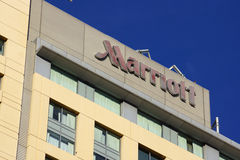Marriott Sign on side of tall hotel building Royalty Free Stock Photo