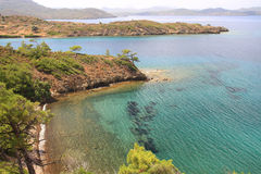 Marrmaris 沿海鸟瞰图从小山的上面的 免版税库存图片
