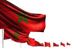 Marrocos agradável isolou bandeiras colocou diagonal, a foto com foco macio e o lugar para o texto - toda a ilustração da bandeir ilustração do vetor