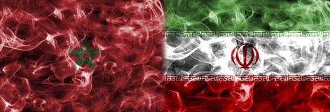 Marrocos contra a bandeira do fumo de Irã, grupo B, campeonato do mundo 2018 do futebol, Mo Ilustração Royalty Free