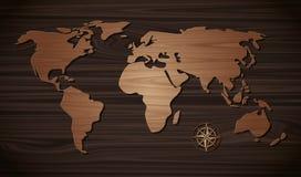 Marrom de madeira do mapa do mundo no marrom escuro de madeira da parede Imagem de Stock Royalty Free