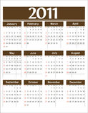 Marrom do calendário 2011 do vetor Imagem de Stock