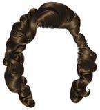 Marrom moreno dos cabelos na moda da mulher, forma da beleza ondas retros do estilo Imagens de Stock Royalty Free