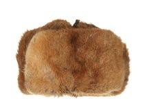Marrone del cappello di pelliccia di inverno isolato su fondo bianco Immagini Stock Libere da Diritti