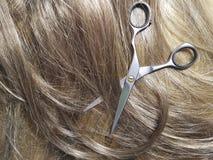 Marrone del fondo di forbici dei capelli, strumento, parrucca, lavoro di parrucchiere Fotografia Stock Libera da Diritti