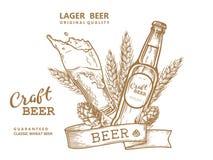 Marrone dell'emblema della birra Fotografia Stock