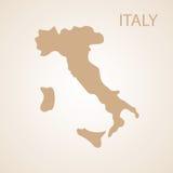 Marrone della mappa dell'Italia Fotografie Stock