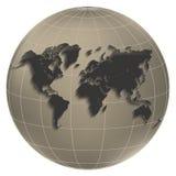 Marrone di globus della luce del globo della mappa di mondo Immagine Stock
