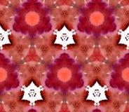 Marrone senza cuciture dello zenzero rosso di Retrowave Synthwave del fondo del modello dell'acquerello del caleidoscopio del mos royalty illustrazione gratis