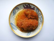 Marrow caviar the hands royalty free stock photography