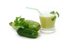 Marrow and cucumber juice. A glass of fresh marrow and cucumber juice isolated on white background Royalty Free Stock Photo