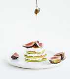 Marrow pancakes with fresh figs, honey and soft cheese Stock Photo