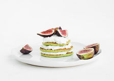 Marrow pancakes with fresh figs and soft cheese Royalty Free Stock Photos