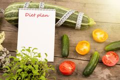 Marrow squash, measure tape, notepad with inscription & x22;Diet plan& x22;, flowers, tomatoes and cucumbers stock image