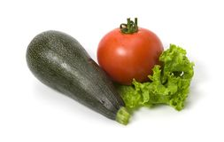 Marrow, tomato and lettuce isolated Stock Photography