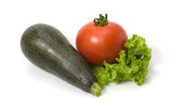 Marrow, tomato and lettuce isolated Stock Photography