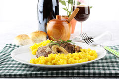 Marrowbone with saffron rice Royalty Free Stock Images