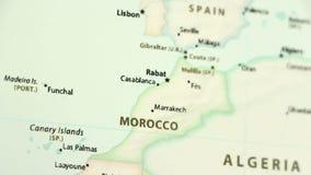 Marruecos en un mapa con defocus