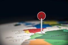 Marruecos marcó con una bandera en el mapa foto de archivo libre de regalías