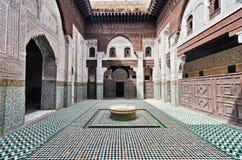 Marruecos, Meknes, interior de un Medersa Imágenes de archivo libres de regalías