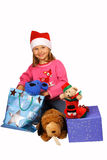 Marry Christmas!. Girl in red Santa Claus with presents Stock Photo