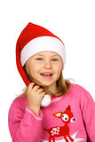 Marry Christmas!. Smiling girl in red Santa Claus Royalty Free Stock Photography