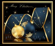 Marry Christmas background. Blue and gold stock illustration
