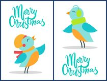 Marry Christmas Birds Set Vector Illustration. Marry Christmas, birds set, that are dressed in hats and warm scarves of green and yellow colors, vector Stock Photos