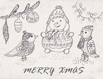 Marry Christmas Card. With hand drawn birds and snowman. Winter Holiday design.  Vector illustration Royalty Free Stock Photography