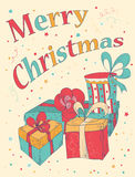 Marry Christmas Card with hand drawn gift boxes. Winter Holiday design.  Vector illustration Royalty Free Stock Photos