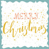 Marry Christmas card with hand drawn lettering. Vector illustrat Royalty Free Stock Photos