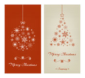 Marry Christmas cards with ball and tree from Stock Images
