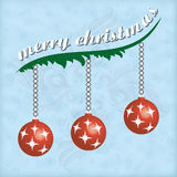 Marry Christmas. Christmas greeting card with branches and balls Royalty Free Stock Photography
