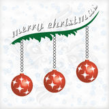 Marry christmas. Christmas greeting card with branches and balls Royalty Free Stock Photo